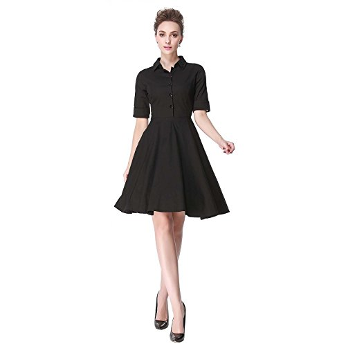 Heroecol Vintage 1950s 50s Dress Style Retro Rockabiily Cocktail Poloneck L BK Black]()