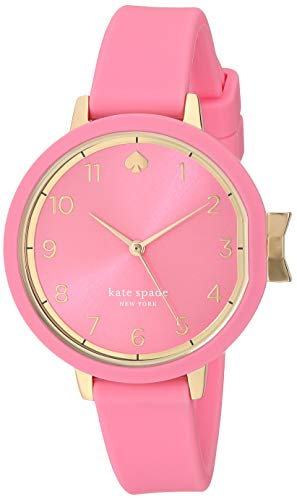 kate spade new york Women's Park Row Quartz Watch with Silicone Strap, Pink, 11.7 (Model: -