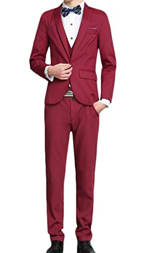 Domple Men's Buttons Vest Three Pieces Office Blazer with Pants Outfit Set Wine red L by Domple