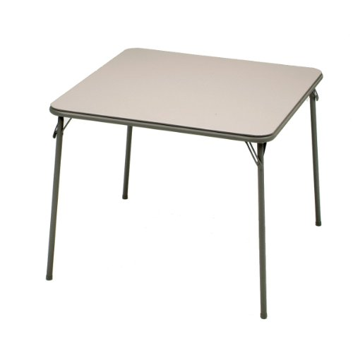 MECO Square Folding Table, 34 by 34-Inch, Chicory Lace Frame and Chicory Vinyl - Top Vinyl Folding Table