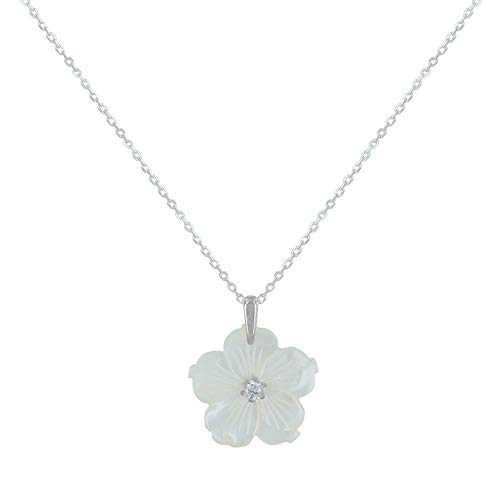 (Les Poulettes Jewels - Silver Pendant Necklace Mother of Pearl Flower - size 45)