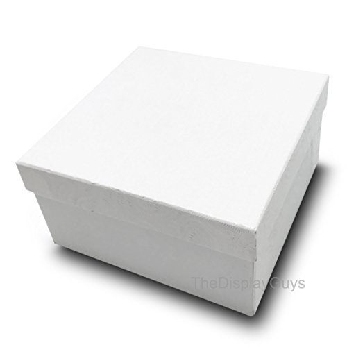 The Display Guys, Pack of 25 White 3 3/4x3 3/4x2 inches Cotton Filled Paper Jewelry Box Gift Display Case (#34) ()