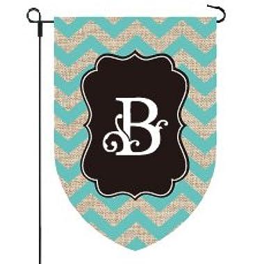 Home Garden Flags Monogram - Chevron Burlap - 12.5 x 18 (LETTER B)