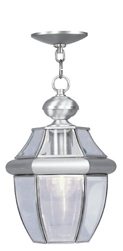 Livex Lighting 2152-91 Monterey 1-Light Outdoor Hanging Lantern, Brushed (Nickel Lantern Pendant)