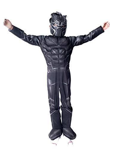 ZH Halloween Costume Superhero Cosplay Fancy Dress Halloween Party Bodysuit for Kids Boys and Girls- Black Panther -