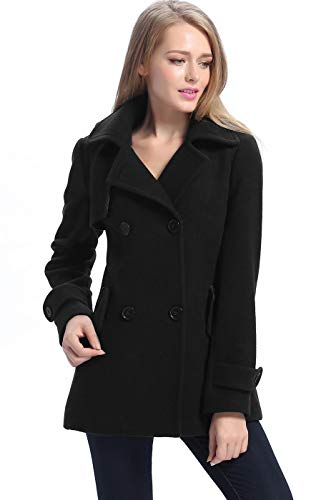 Inverted Pleat Coat - BGSD Women's Piper Wool Blend Pea Coat, Black, Plus Size 0X, XX-Large