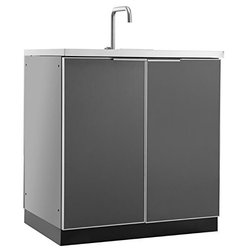 NewAge Outdoor Kitchen Sink Cabinet in Aluminum Slate by New Age