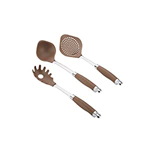 Anolon Gadgets Utensil Kitchen Pasta Cooking Tools Set, 3 Piece, Bronze Brown