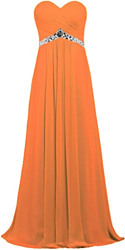 Women Strapless Gown ANTS Prom Chiffon Orange Bead Dress Empire Long s dq717wC