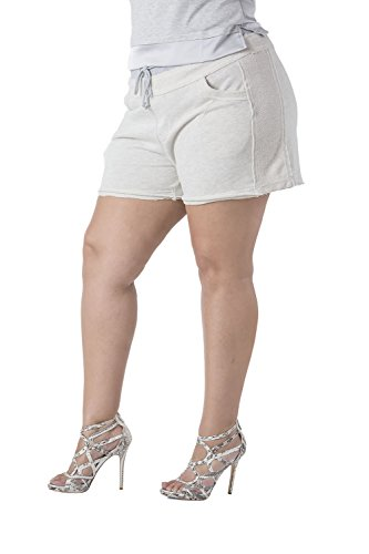 Poetic Justice Plus Size Women's Curvy Fit Grey French Terry Drawstring Pull On Short Size 3X