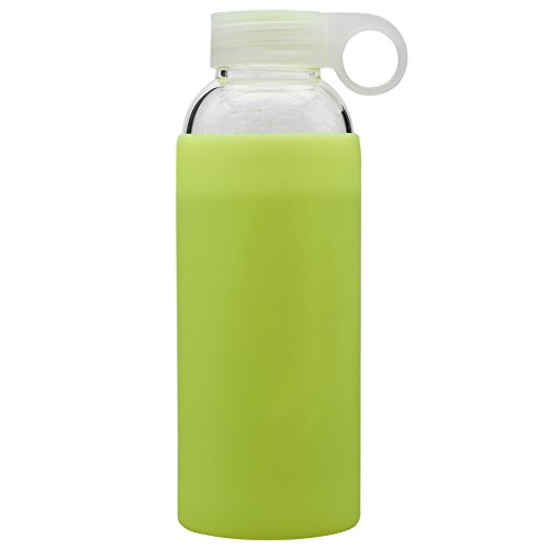 Bonison (Limited Time Durable Glass Water Bottle with Soft Colorful Silicone Sleeve Handle Lid 14 Oz Yellow