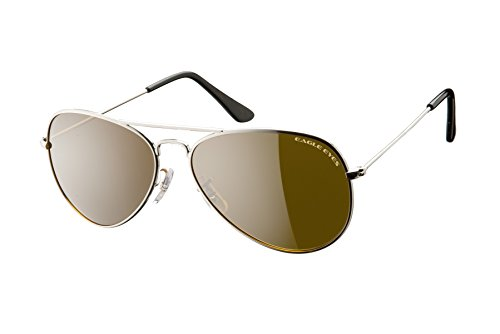 (Eagle Eyes Classic Aviator Sunglasses -Silver Stainless Steel Frame (58mm), Polarized Lenses)