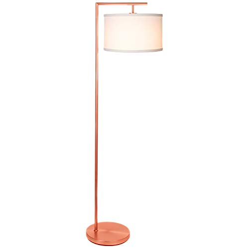 Brightech Montage Modern LED Floor Lamp - Living Room Light - Standing Pole with Hanging Drum Shade - Tall Downlight for Bedrooms, Family Rooms, Offices  Rose Gold
