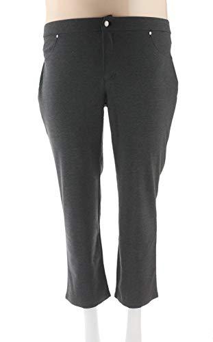 Liz Claiborne Petite Ponte Knit Slim Leg Pants Charcoal Heather 20P # -