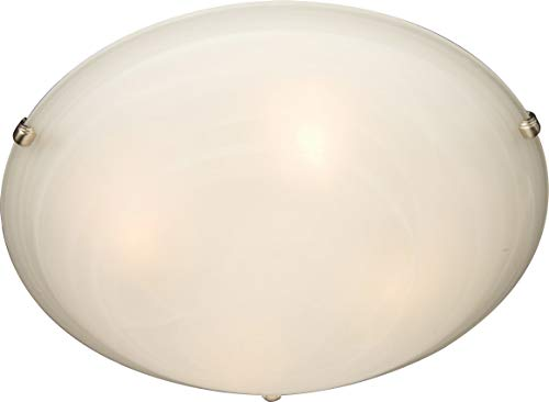 Maxim 2680MRSN Malaga 2-Light Flush Mount, Satin Nickel Finish, Marble Glass, MB Incandescent Incandescent Bulb , 60W Max., Dry Safety Rating, Standard Dimmable, Glass Shade Material, Rated Lumens