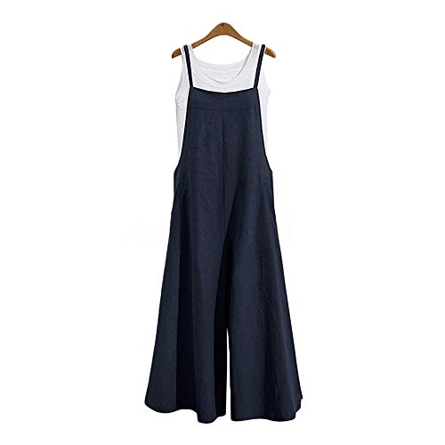 Jumpsuits for Women Casual Cotton Jumpsuit Long Suspender Twin Side Bib Wide Leg Overalls Pants Large Size (S, Navy)