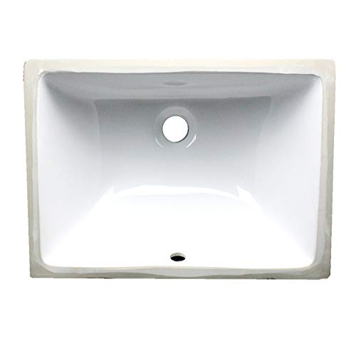 Nantucket Sinks UM-16x11-W 16-Inch by 11-Inch Rectangle Ceramic Undermount Vanity, - Undercounter Mount Sink