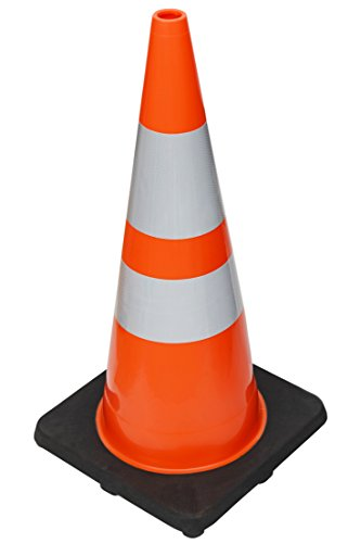 ( 6 Cones ) CJ Safety 28'' Premium PVC Traffic Safety Cones with Black Base & 6'' + 4'' Reflective Collars (6 Cones) by CJ Safety