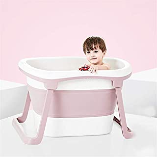 Folding Infant Bathtub, Baby Bath Tub, Swimming and Bathing, Kids Portable Folding Bathtub Can Sit and Lie Down, Support for 0-10 Years, Pink
