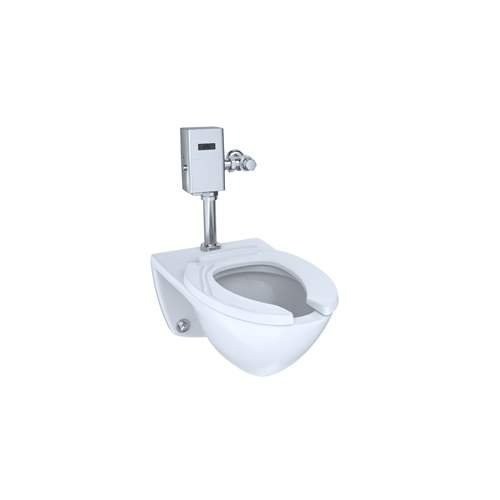 Mounted Flushometer - TOTO CT708UG#01 White-CT708UG Elongated 1.0 GPF Wall-Mounted Flushometer Toilet Bowl with Top Spud and CeFiONtect, Cotton White
