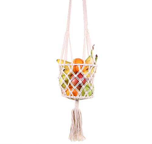 SI Macrame Hanging Fruit Basket for Kitchen - Bohemian Produce Vegetable Baskets for Kitchen Decor - Boho Vegetable Hammock Hanger Holder Minimalist Hippie Chic Wall Home Decorations