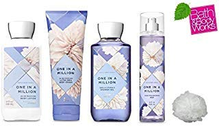 Bath and Body Works ONE IN A MILLION Deluxe Gift Set Lotion ~ Cream ~ Fragrance Mist ~ Shower Gel + FREE Shower Sponge Lot of 5 (One In A Million One In A Million)