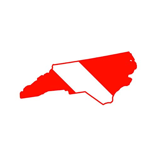 North Carolina State Shaped Diver Down Flag Sticker Decal Self Adhesive FA Graphix Scuba Flag Diving Dive NC