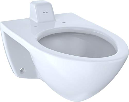 TOTO CT708UVG#01 White-CT708UVG Elongated 1.0 GPF Wall-Mounted Flushometer Toilet Bowl with Back Spud and CeFiONtect, Cotton White