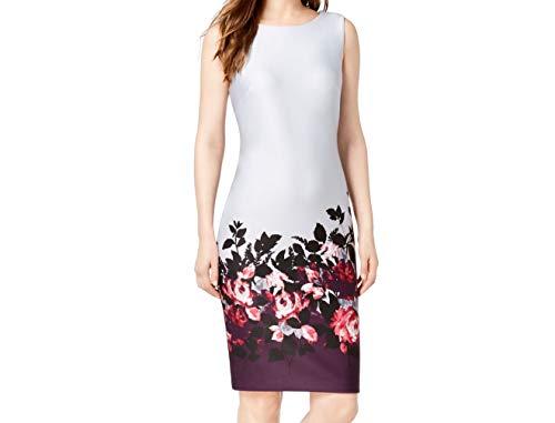 Calvin Klein Women's Border-Print Scuba Sheath Dress (4, Aubergine Multi)
