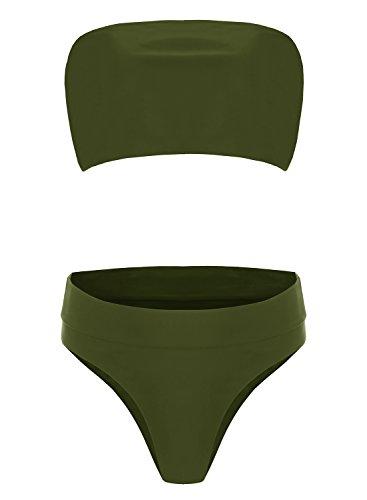Misassy Womens Sexy High Waisted Bikini 2 Piece Bandeau Swimsuit Top Cheeky  Bottoms Set - Bikini Online Shop 372cc9476