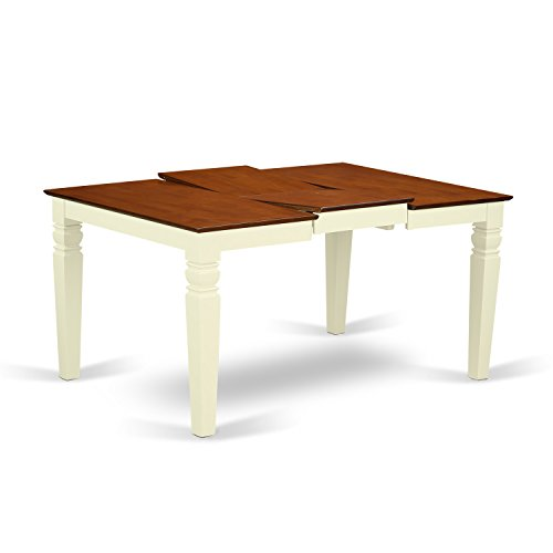 East West Furniture WET-BMK-T Weston Dining Table with 18 inch Butterfly Leaf, Rectangular, Buttermilk and Cherry Finish