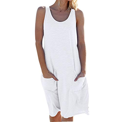 WEISUN Womens Dress Holiday Comfy Solid Color Sleeveless Dress Summer Party Beach Seaside Dress with Pocket White