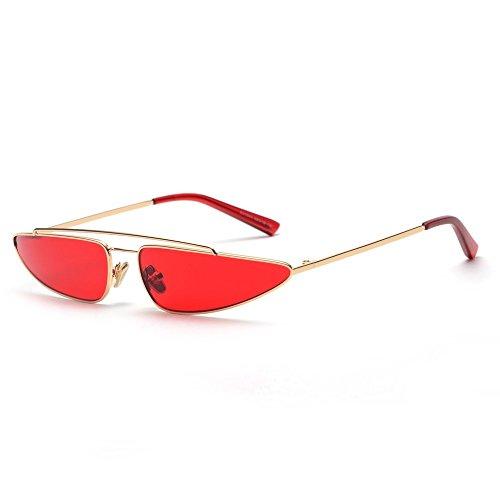 Mujer El Mujer Para Sol Sol Rojo Gafas Gato En Gafas De Rosa TIANLIANG04 Ojo De Vintage Pequeña De Moda Amarillo Triángulo De Estructura Metal De La OpwqxnXC