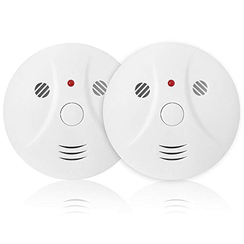 Combination Photoelectric Smoke Alarm and Carbon Monoxide Detector, Protect Your Home from Fire and Gas Leaks, Even When You're Away, 9V Battery Operated (Two Pack) (Best Place To Place Carbon Monoxide Detector)