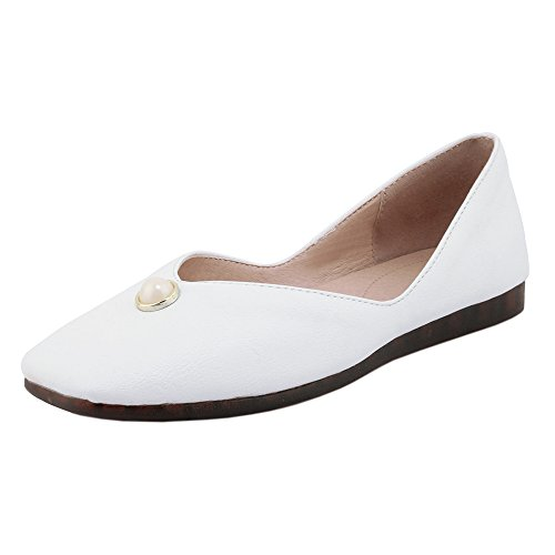 Taffen Womens Comfort Slip On Flat Shoes White-94