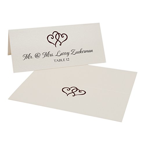 Linked Hearts Place Cards, Champagne, Chocolate, Set of 375 by Documents and Designs