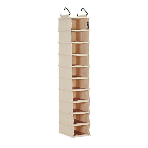 Household Essentials Cedar Stow 10-Shelf Narrow Hanging Shelves | Shoe Organizer Wardrobe, Off-White