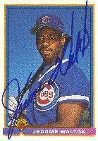 Jerome Walton Chicago Cubs 1991 Bowman Autographed Card. This item comes with a certificate of authenticity from Autograph-Sports. Autographed
