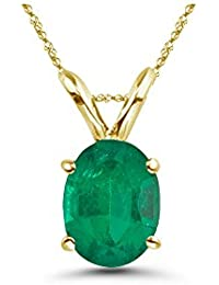0.65 Cts of 7x5 mm AA Oval Natural Emerald Solitaire Pendant in 14K Yellow Gold