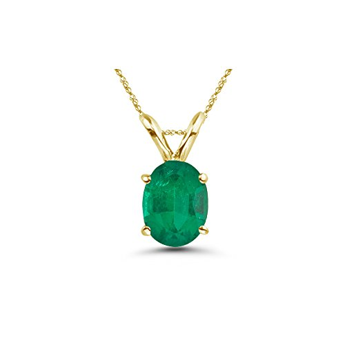 5x3mm Emerald Oval (0.14-0.26 Cts of 5x3 mm AA Oval Natural Emerald Solitaire Pendant in 14K Yellow Gold)