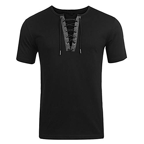 OrchidAmor Men's Trend Personal Band Short Sleeve T-Shirt Pure Color Blouse Top Black
