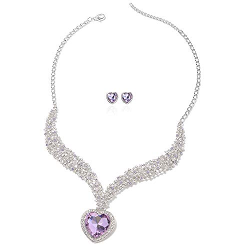 Duchess Of Windsor Costumes Jewelry - V-Shape Heart Stud Solitaire Earrings Necklace