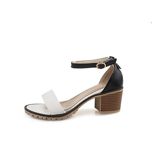 Ankle Wrap White AdeeSu Round Sandals Womens Urethane Heels Toe Chunky tIxqHxpf