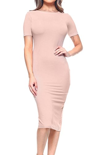 ICONOFLASH Women's Bodycon Midi Dress - Crew Neckline with Short Sleeves (Camel, -