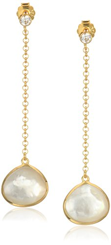 18k Yellow Gold Plated Sterling Silver Genuine Mother of Pearl and Created White Sapphire Drop Post Dangle - Pearl Sapphire Mother Of Earrings