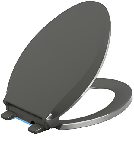 KOHLER K-4888-58 Cachet Nightlight Quiet-Close with Grip-Tight Bumpers Elongated Toilet Seat, Thunder Grey