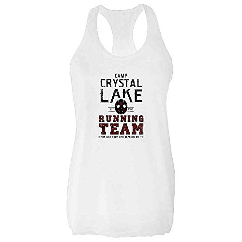 Pop Threads Camp Crystal Lake Running Team Horror Costume White S Fashion Tank Top Tee for ()