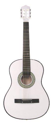 [해외]38 화이트 어쿠스틱 스타터 기타 (7 8 사이즈) & amp; /38  WHITE Acoustic Starter Guitar (7 8 Size) & DirectlyCheap(TM) Translucent Blue Medium Guitar Pick