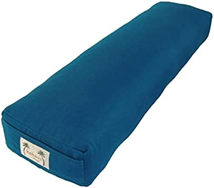 YogaDirect Pranayama Cotton Yoga Bolster Blue 25 x 3 x 6-Inch