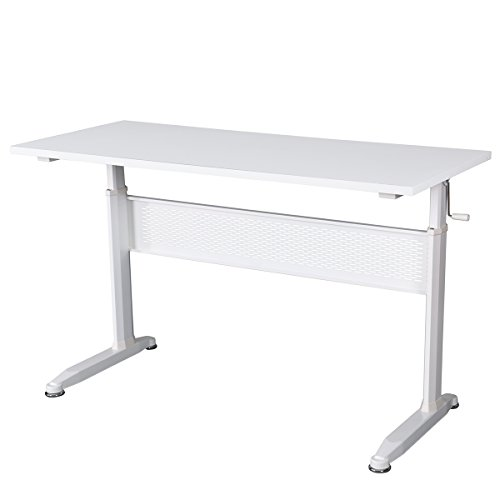 DEVAISE Adjustable Height Standing Desk 55 Inch with Crank Handle / White by DEVAISE